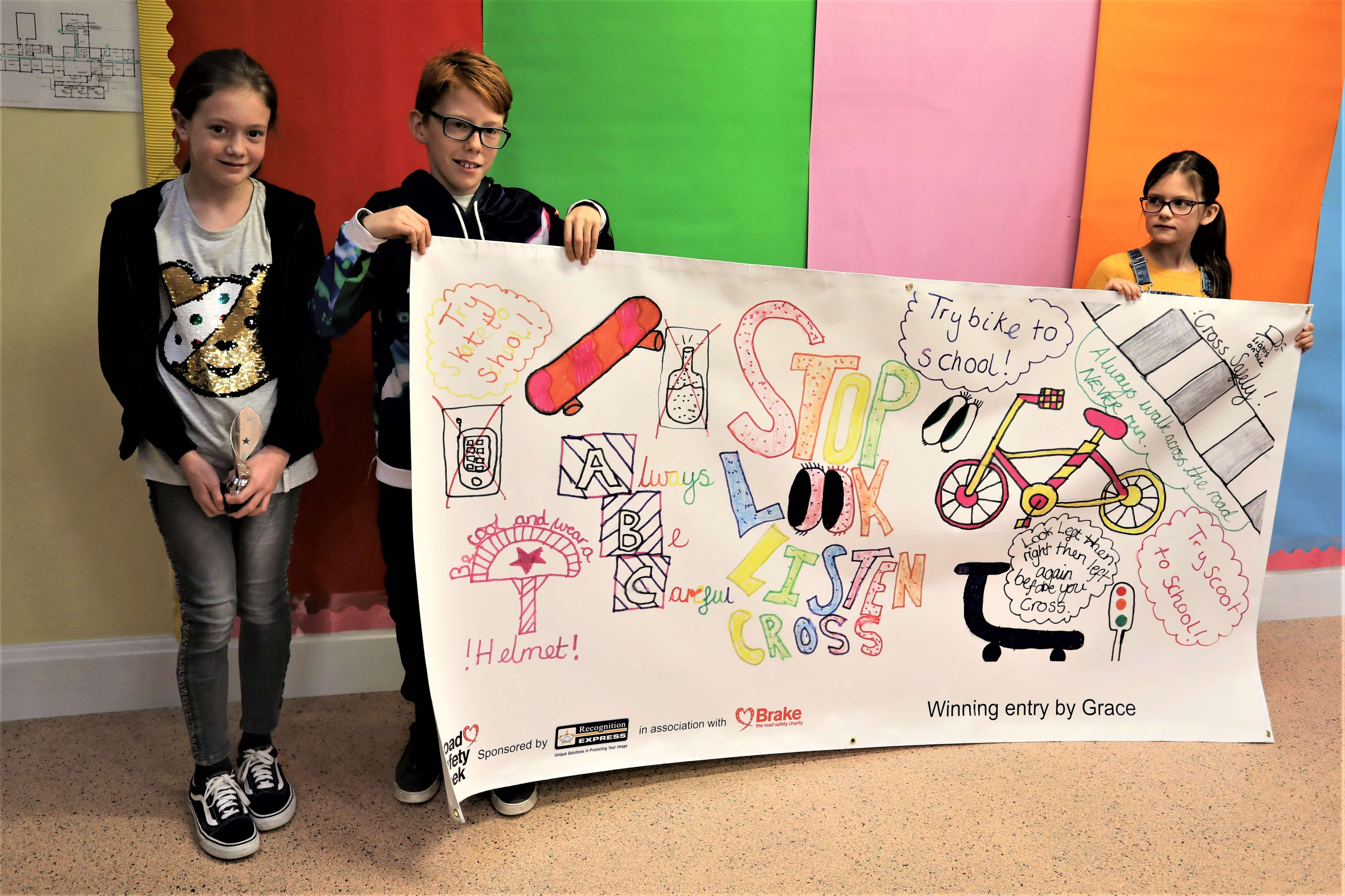 Pupils from Edgar Sewter Primary School with their winning road safety banner