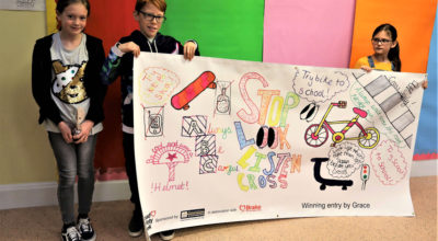 Suffolk school wins road safety banner and goodies