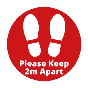 2m Distance Circle Floor Sticker