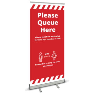 Please Queue Here Roller Banner-red